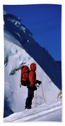 A Man Mountaineering In The Alps Bath Towel