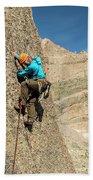A Man Rock Climbing In Rocky Mountain Bath Towel