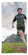 A Man Trail Runs Along The Spring Brook Bath Towel
