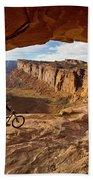 A Mountain Biker Rides By On Slickrock Bath Towel