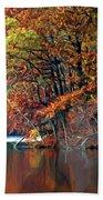 A Painting Barney's Autumn Pond Bath Towel