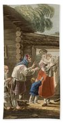 A Russian Peasant Family, 1823 Bath Towel