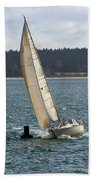 A Sailing Yacht Rounds A Buoy In A Close Sailing Race Bath Towel