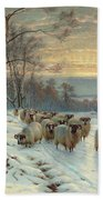A Shepherd With His Flock In A Winter Landscape Bath Towel
