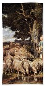 A Shepherdess With Her Flock Near A Stream Bath Towel