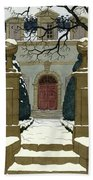A Snow Covered Pathway Leading To A Mansion Hand Towel