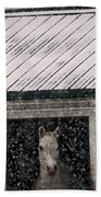 A Snowfall At The Stable Bath Towel