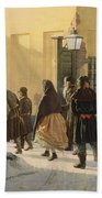 A Street Scene, Outside A Prison, 1868 Oil On Canvas Bath Towel