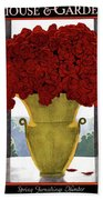 A Vase With Red Roses Hand Towel