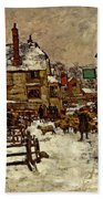 A Village In The Snow Bath Towel