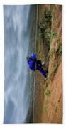 A Woman Rappelling Down Next To Deer Bath Towel
