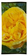 A Yellow Rose Abstract Painting Bath Towel