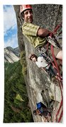 A Young Boy And Climbers In Yosemite Hand Towel