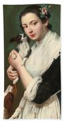 A Young Lady With Two Dogs Bath Towel