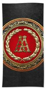 Aa Initials - Gold Antique Monogram On Black Leather Bath Towel
