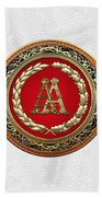 Aa Initials - Gold Antique Monogram On White Leather Bath Towel