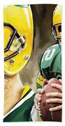 Aaron Rodgers Green Bay Packers Quarterback Artwork Bath Towel