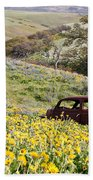 Abandoned Ford Buried In Wildflowers Bath Towel