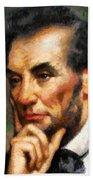 Abraham Lincoln - Abstract Realism Bath Towel