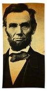 Abraham Lincoln Portrait And Signature Bath Towel