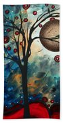 Abstract Art Contemporary Cat Bird Circle Of Life Collection Cat Perch By Madart Bath Towel