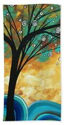 Abstract Art Contemporary Painting Summer Blooms By Madart Bath Towel