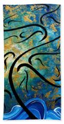 Abstract Art Gold Textured Original Tree Painting Peace And Desire By Madart Bath Towel