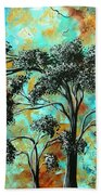 Abstract Art Landscape Metallic Gold Textured Painting Spring Blooms II By Madart Bath Towel