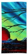 Abstract Art Landscape Seascape Bold Colorful Artwork Serenity By Madart Bath Towel