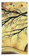Abstract Art Metallic Gold Original Landscape Painting Colorful Diamond Jubilee By Madart Bath Towel