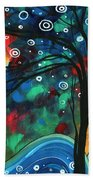 Abstract Art Original Landscape Colorful Painting First Snow Fall By Madart Bath Towel