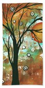 Abstract Art Original Landscape Painting Bold Circle Of Life Design Autumns Eve By Madart Bath Towel