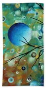 Abstract Art Original Landscape Painting Colorful Circles Morning Blues I By Madart Hand Towel