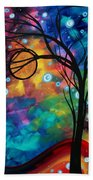 Abstract Art Original Painting Winter Cold By Madart Bath Towel