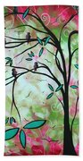 Abstract Art Original Whimsical Magical Bird Painting Through The Looking Glass  Bath Towel