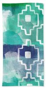 Abstract Aztec- Contemporary Abstract Painting Bath Towel