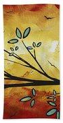 Abstract Bird Landscape Tree Blossoms Original Painting Family Of Three Bath Towel