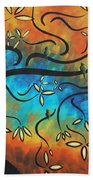 Abstract Bird Painting Original Art Madart Tree House Hand Towel