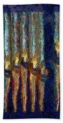 Abstract Blue And Gold Organ Pipes Bath Towel