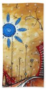Abstract City Cityscape Contemporary Art Original Painting The Lost City By Madart Bath Towel