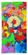 Abstract Colorful Flowers Hand Towel