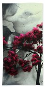 Abstract Contemporary Art Landscape Painting Modern Artwork Pink Passion By Madart Bath Towel