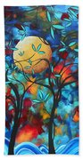 Abstract Contemporary Colorful Landscape Painting Lovers Moon By Madart Bath Towel