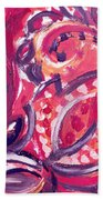 Abstract Floral Design Purple Note Bath Towel