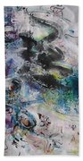 Abstract Flower Field Painting Blue Pink Green Purple Black Landscape Painting Modern Acrylic Pastel Bath Towel
