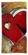 Abstract Heart Original Painting Valentines Day Heart Beat By Madart Bath Towel
