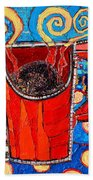 Abstract Hot Coffee In Red Mug Bath Towel