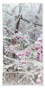 Abstract Ice Covered Shrubs Bath Towel