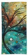 Abstract Landscape Art Original Colorful Heavy Textured Painting Cracked Facade By Madart Bath Towel