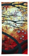 Abstract Landscape Art Original Painting Where Dreams Are Born By Madart Bath Towel